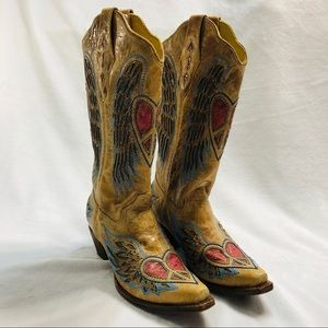 Corral Western Boots - Winged Peace Heart Sz 8.5